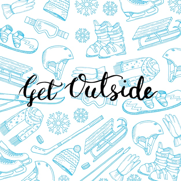 Hand drawn winter sports equipment and attributes Premium Vector