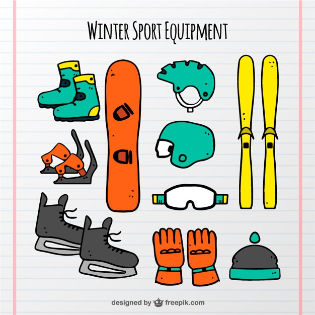 Hand-drawn winter sports equipment set