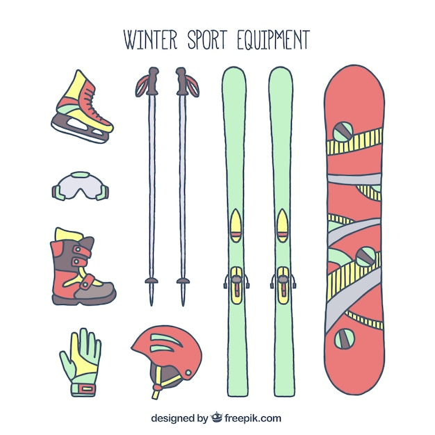 Hand-drawn winter sports equipment