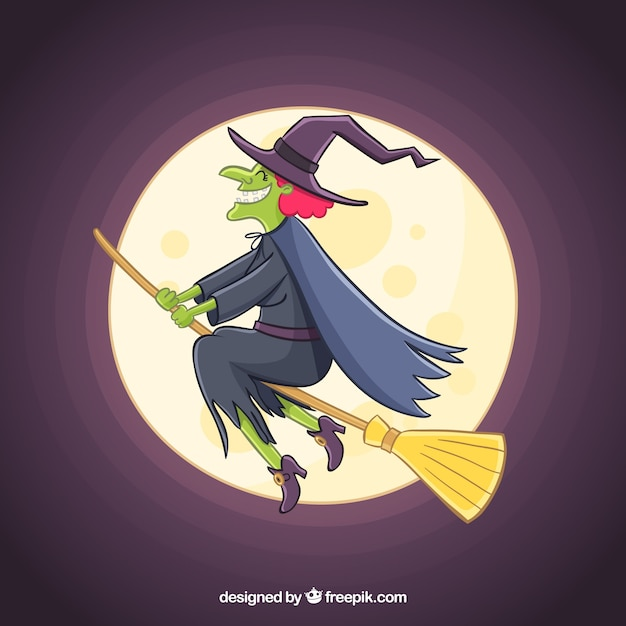 Hand drawn witch with creepy style Free Vector
