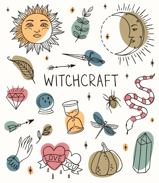 Hand drawn witchcraft set with magic tools: crystal, ball, knife, sun crescent, branch, pumpkin. outline doodle with colored spots. Premium Vector