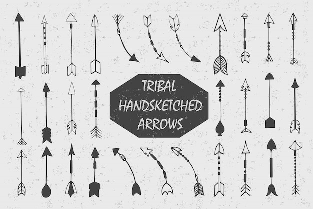 Hand drawn with ink tribal vintage set with arrows. ethnic illustration, american indians traditional symbol. Free Vector