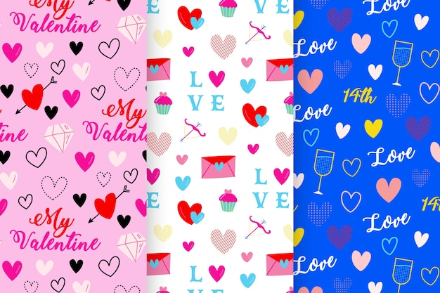 Hand-drawn with valentines day pattern collection Free Vector
