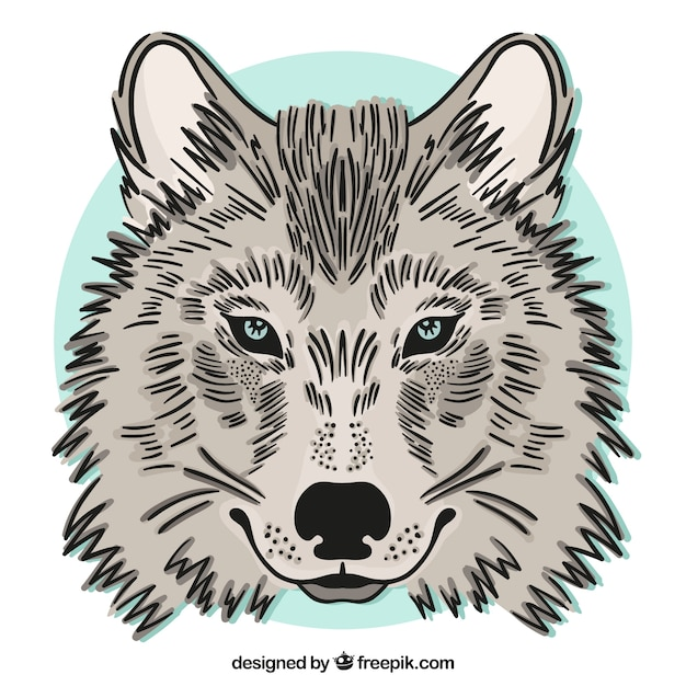 hand drawn wolf background free vector