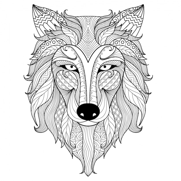 hand drawn wolf head premium vector