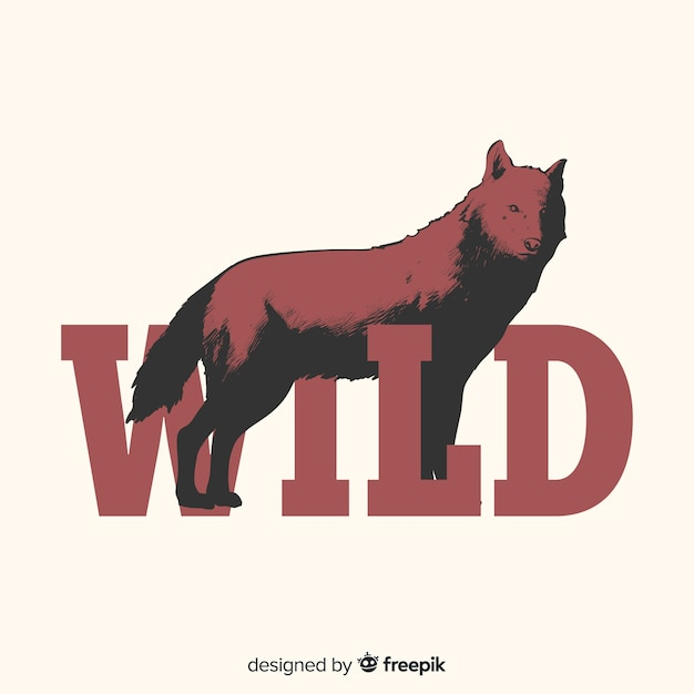 Hand drawn wolf with word background Free Vector
