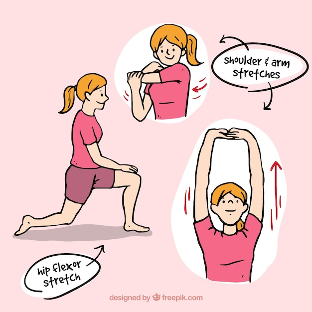 Hand-drawn woman doing rehabilitation exercises Free Vector