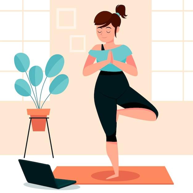 Рисованной женщина делает йогу Premium векторы