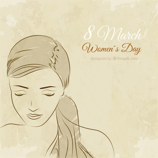 Hand drawn woman face for Women\'s Day