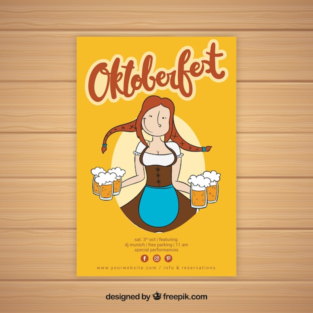Hand drawn woman with beers Free Vector