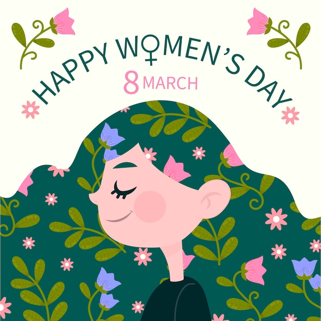 Hand drawn women's day female with flowers in her hair Free Vector