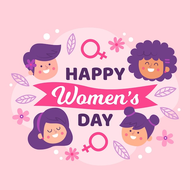 Hand drawn women's day illustration with lettering Free Vector