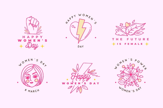 Hand drawn women's day label/badge collection Free Vector