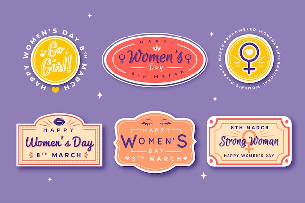 Hand drawn women's day label collection Free Vector