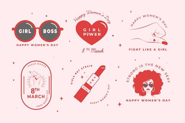 Набор рисованной женский день этикетки Бесплатные векторы