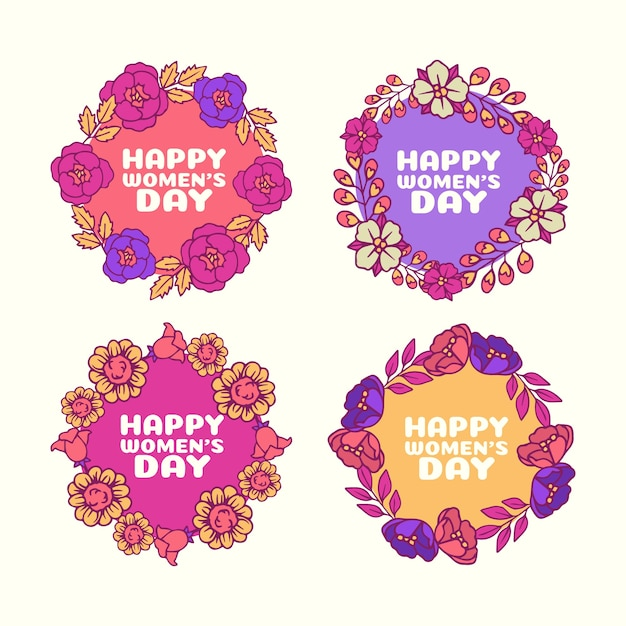 Hand drawn women's day labels collection Free Vector
