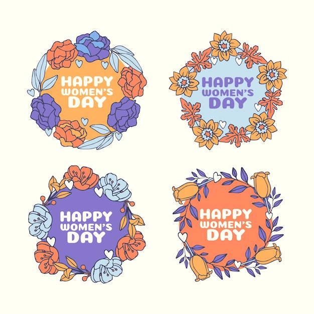 Hand drawn women's day labels pack Free Vector
