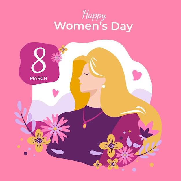 Hand drawn women's day with date Free Vector