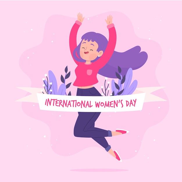 Hand drawn women's day with flowers Free Vector