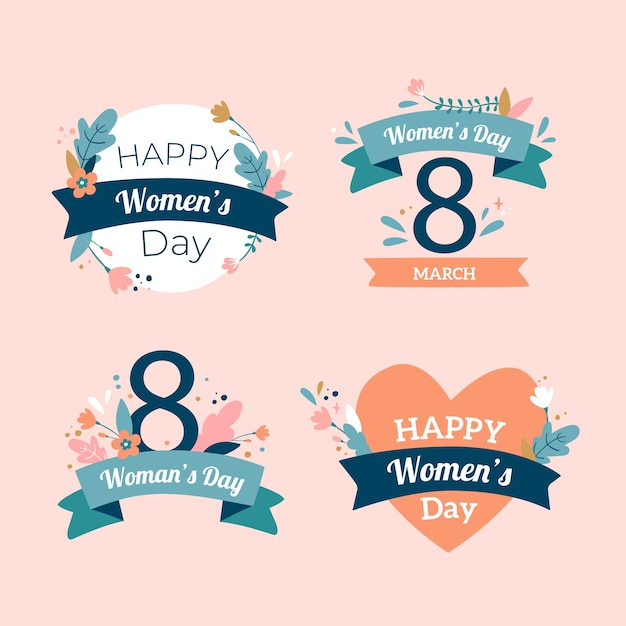 Hand-drawn womens day badge collection Free Vector