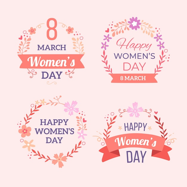 Hand-drawn womens day badges Free Vector