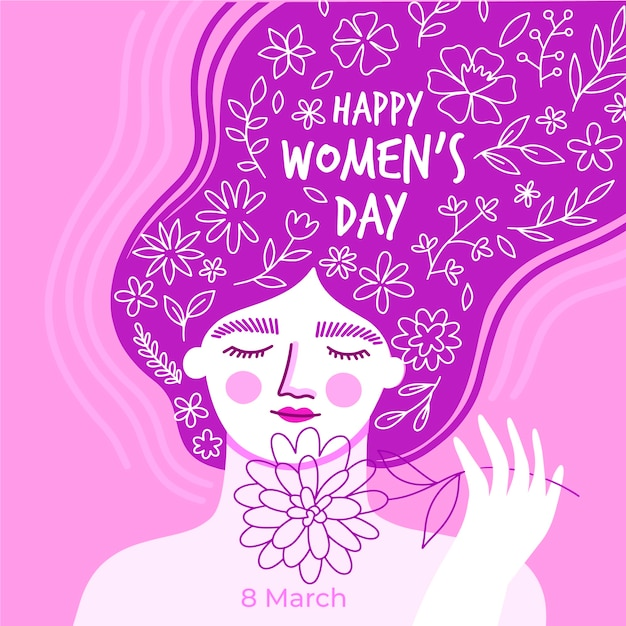Hand-drawn womens day design Free Vector
