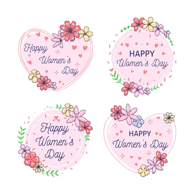 Hand-drawn womens day label collection concept Free Vector