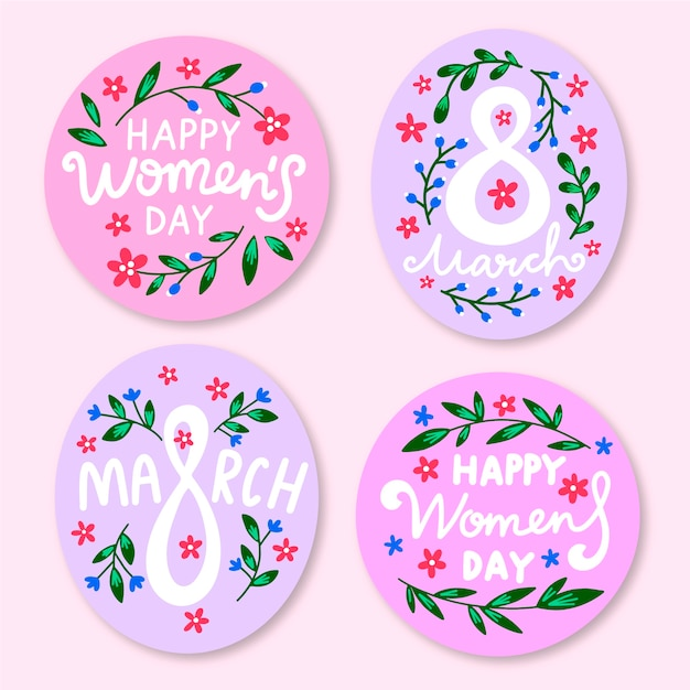 Hand-drawn womens day label collection theme Free Vector