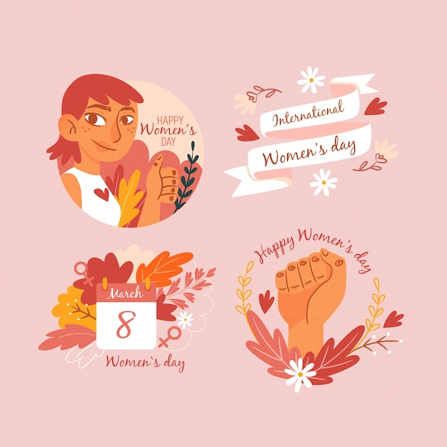 Hand-drawn womens day label collection Free Vector