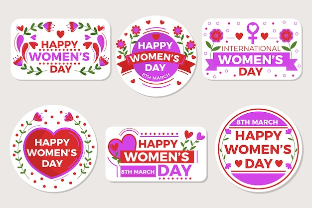 Hand-drawn womens day labels Free Vector