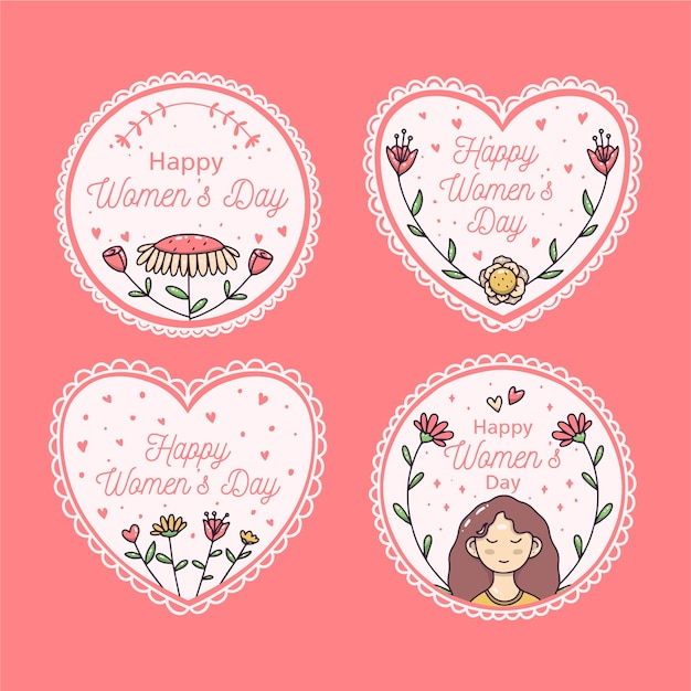 Hand-drawn womens day lbadge collection Free Vector