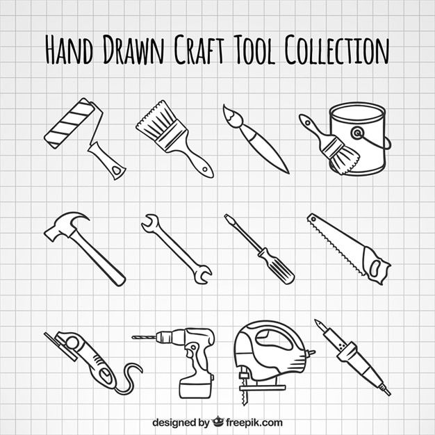 Hand-drawn woodworking tools collection Free Vector
