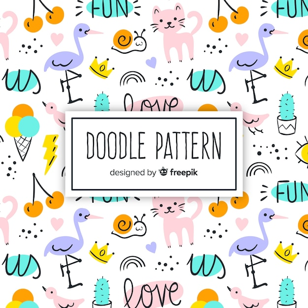 Hand drawn words and animals pattern Free Vector