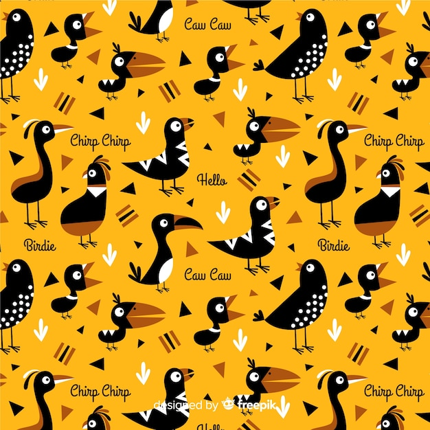 Hand drawn words and birds pattern Free Vector
