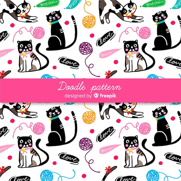 Hand drawn words and cats pattern Free Vector