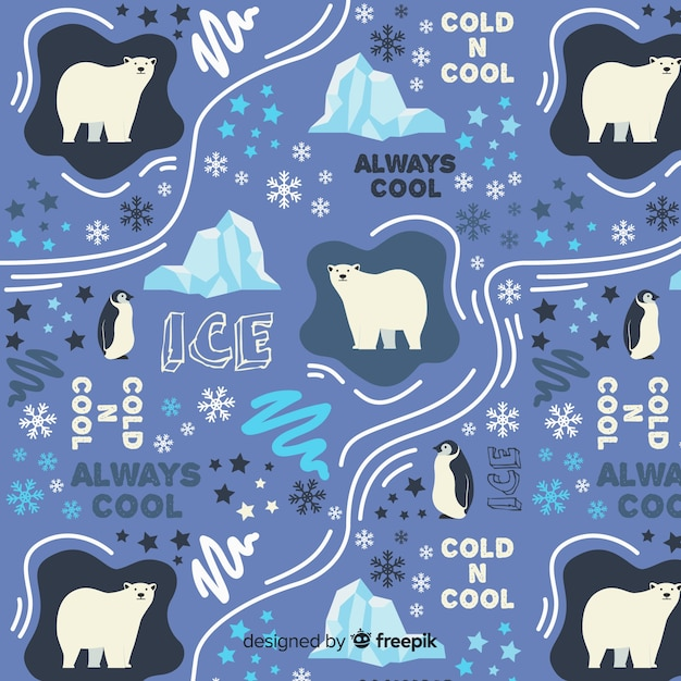 Hand drawn words and polar animals pattern Free Vector