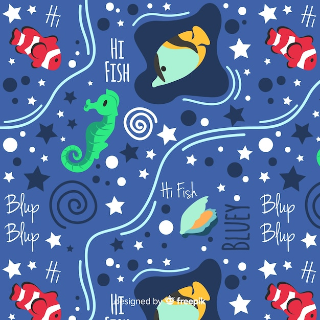Hand drawn words and sea animals pattern Free Vector