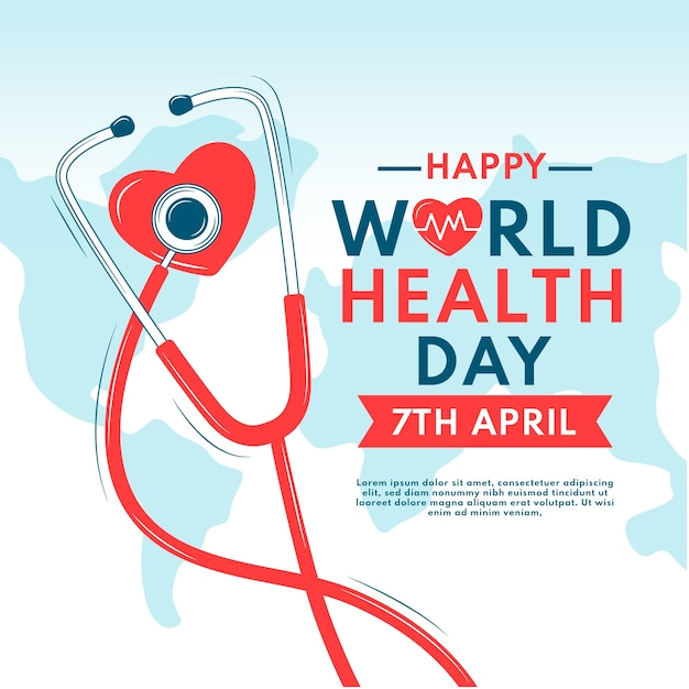 Hand-drawn workd health day celebration Free Vector