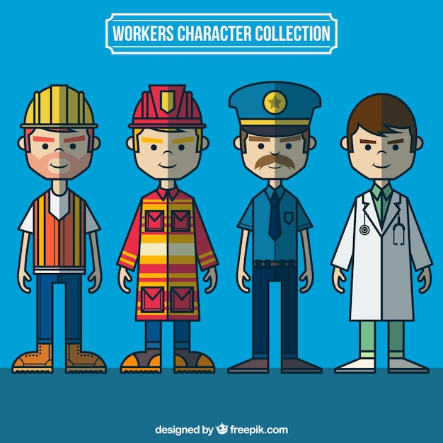 Hand drawn workers character collection