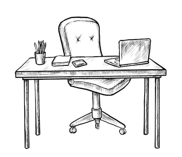 Ручной обращается рабочее место. эскизный стол со стулом, компьютерный ноутбук, ноутбук и стационарный на белом. пустое рабочее место интерьер комнаты домашнего офиса. иллюстрация мебели рабочего места Premium векторы