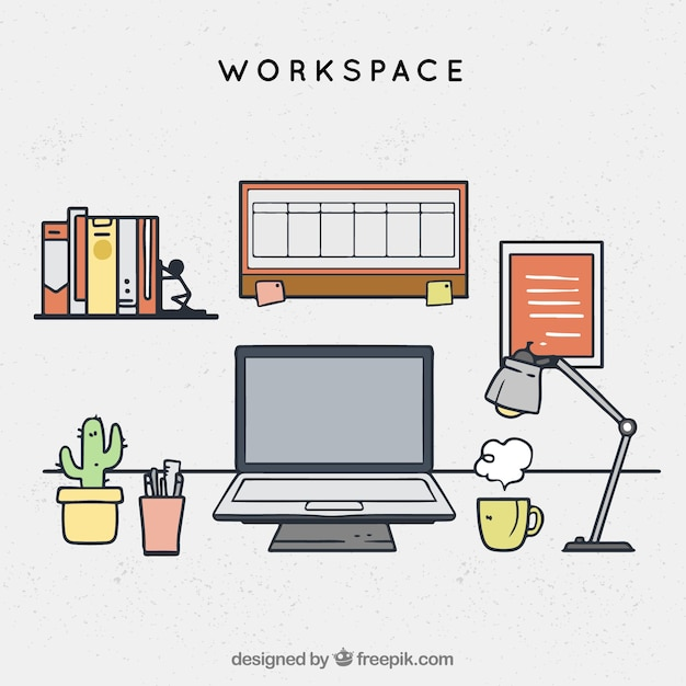 Hand drawn workspace with professional style
