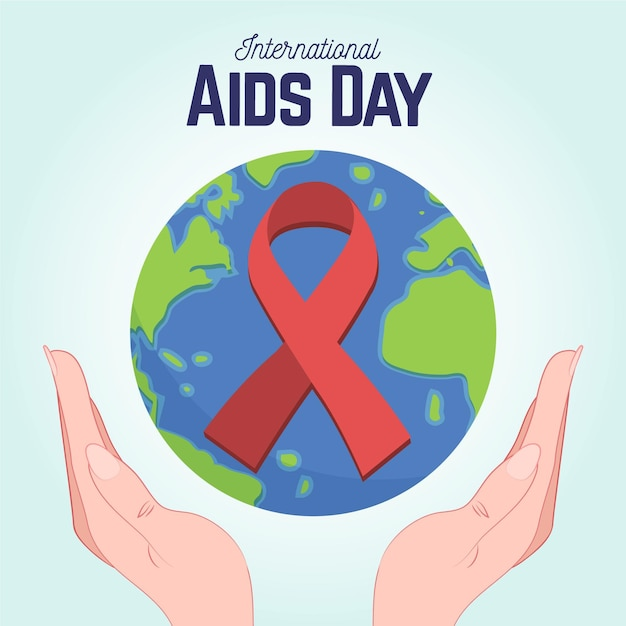 Hand drawn world aids day Free Vector