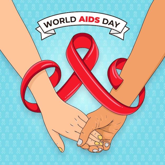 Hand drawn world aids day Premium Vector