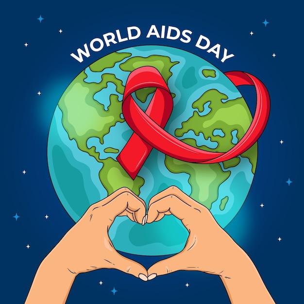 Hand drawn world aids day Premium Vector