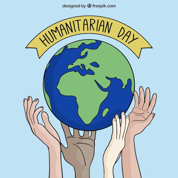 hand drawn world background of humanitarian day vector