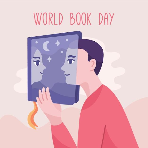 手描きの少年と少女と世界本日の背景 無料ベクター