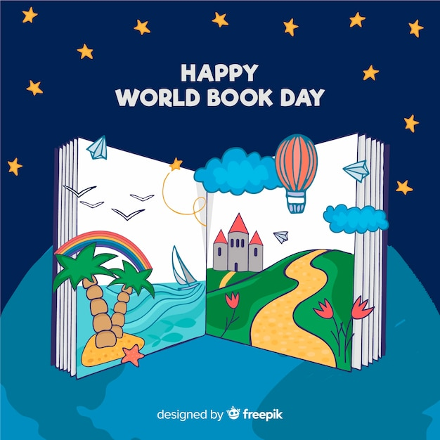Hand drawn world book day banners Free Vector