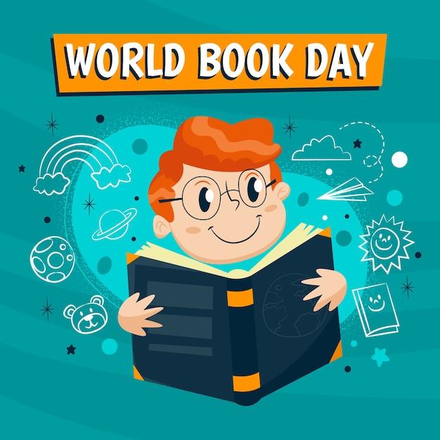 手描き世界本の日のコンセプト 無料ベクター