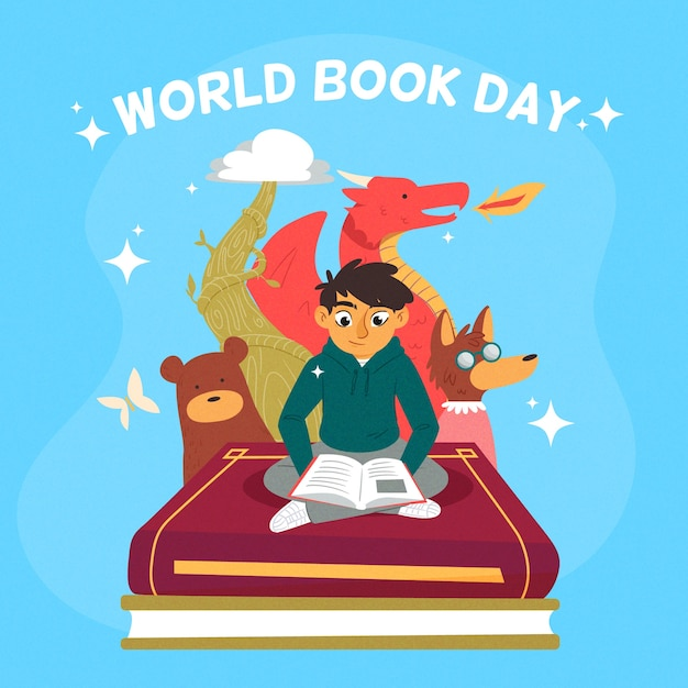 Hand-drawn world book day event Free Vector