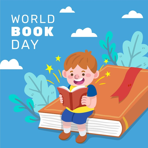 Hand drawn world book day illustration with child reading Free Vector